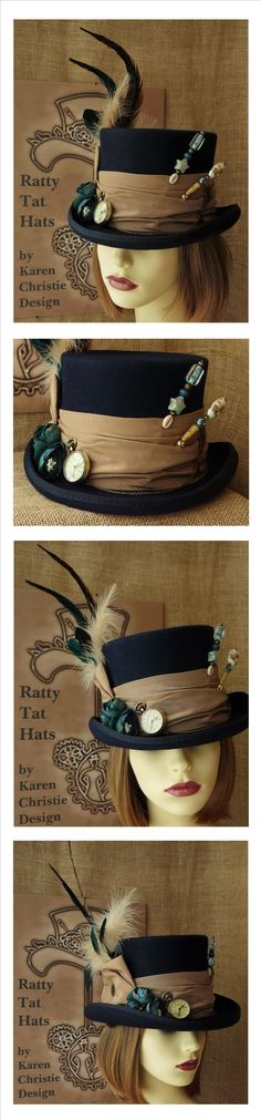 Lady's Navy Blue Steampunk Hat with Small Bronze Pocket Watch and Hatpins. Available from The Ratty Tat Hats' website.