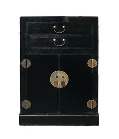 """This is a simple end table nightstand made of wood and covered with a layer of aritifical leather. The surface is a simple black color. There are two drawers and one storage room. Inside is placed with Chinese calendar book paper.  Dimensions: w21.5"""" x d14""""x h30.5"""" Origin: China Material: Wood, artificial leather Condition: Handmade, not perfect."""