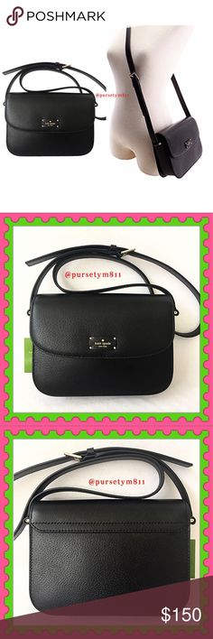 "Authentic Kate Spade Black Leather Bag AUTHENTIC. Gorgeous & luxurious black leather handbag from Kate Spade. Lightweight & very spacious. Approximate measurements: Length 9"" Height 6"" Width 2.5"" w/ adjustable long strap for crossbody & shoulder bag. Pockets inside. New w/ tag. PRICE FIRM. kate spade Bags Crossbody Bags"