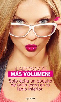 ¡Labios con más volumen! Solo echa un poco de brillo extra en tu labio interior. #tips