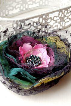 Decadent Silk Flower Brooch/Corsage Silk vintage by GhostFlowerArt, $22.50 Etsy.  These are so beautiful!