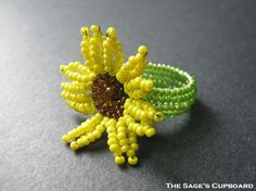Sunflower Cocktail Ring Beaded Yellow and Brown by sagescupboard, $15.00