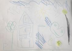 Heute erhielten die Kinder die Aufgabe, zu einer Musik eine passende Zeichnung zu zeichnen. Alle Kinder sassen an einem grossen Tisch und sobald die Musik aus ging, gaben sie das Blatt nach links weiter. So entstanden viele Gemeinschaftszeichnungen, welche wir anschliessend im Kreis zusammen anschauten.