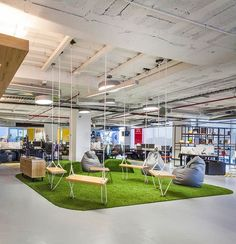 Design Detail - This Red Bull Office Has A Casual Meeting Area With Swings: