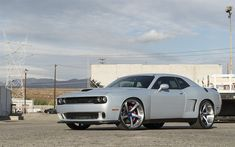 Download wallpapers dodge challenger, American sports coupe, silver challenger, tuning, Forgiato Wheels, dodge