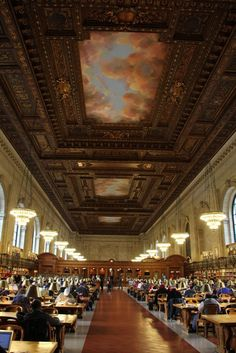 Main Reading Room, the size of two city blocks, features a magnificent fresco, carved wood and marble, chandeliers, immense windows, and 52 ft. tall ceiling - See more at: http://chambersarchitects.com/blog/13-historical-design/208-chambers-architects-visits-a-new-york-beaux-arts-masterpiece.html#sthash.SMijukhN.dpuf And take a look at more photos like this at: http://chambersarchitects.com/blog.html