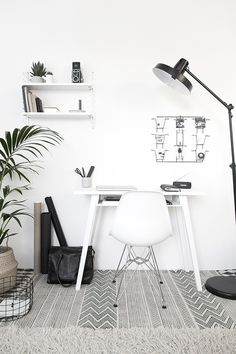 white table and shelves