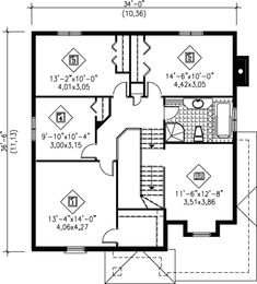 Traditional Style House Plan - 4 Beds 2 Baths 2249 Sq/Ft Plan #25-2044 - Houseplans.com Mediterranean House Plans, Monster House Plans, Traditional Design, Baths, Floor Plans, Flooring, How To Plan, Bathrooms, Style