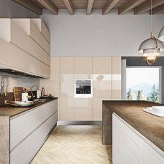 Cocina equipada con puertas de cristal, el diseño de la cocina en ...