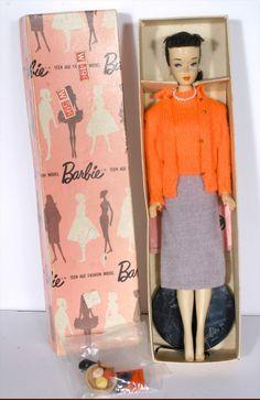 "RARE Vintage Brunette 3 Ponytail Barbie w Pink Silhouette Box ""Sweater Girl""   eBay"