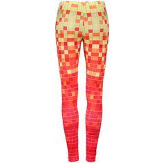 Gradient Block Orange Leggings ($24) ❤ liked on Polyvore