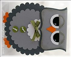 Pretty thanks card by Vineyard Owl Card + lots more ideas Wonderful Layout Scrapbook Paper Crafts, Scrapbook Cards, Owl Punch Cards, Owl Card, Baby Shower Invitaciones, Thanks Card, Owl Crafts, Shaped Cards, Halloween Cards