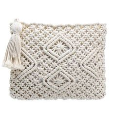 Beige Woven Square Zip Tassel Clutch Bag ==