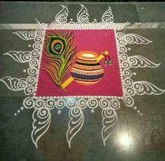 Beautiful Rangoli Designs For Krishna Janmashtami - ArtsyCraftsyDad Simple Rangoli Designs Images, Rangoli Designs Latest, Rangoli Designs Flower, Latest Rangoli, Rangoli Patterns, Rangoli Ideas, Rangoli Designs Diwali, Diwali Rangoli, Flower Rangoli