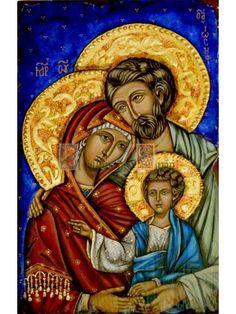 Icono de arte bizantino que representa la Sagrada Familia esta pintado en madera y con pan de oro