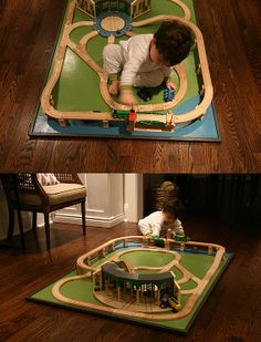 DIY train table, GREAT IDEA for leo, screw down pieces so he isn't bothered by them coming up... also I will put it on top of another table :0)