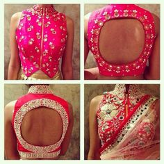 pink designer blouse with zip - Google Search