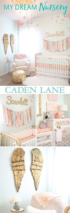 This dreamy coral, mint and gold vintage nursery is too adorable for words - click to find out all the details about this gorgeous nursery!: