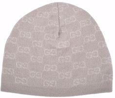 New Gucci Men's 387577 Beige 100% Cashmere GG Guccissima Beanie Ski Winter Hat #Gucci #Beanie