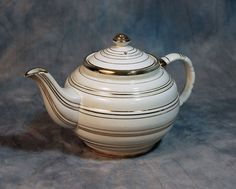 Vintage Sadler Teapot  Cream with Gold Trim by AuntGertiesAttic, $24.00