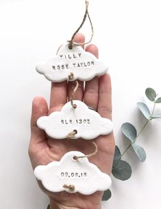 Baby Keepsake Personalised Cloud Gift, Clay Keepsake New Baby Gift, Baby Ornament Gift, Baby Decor, Diy Clay, Clay Crafts, Clay Christmas Decorations, Christmas Presents, Etsy Christmas, Christmas Ornament, Baby Ornaments, Clay Baby, Baby Keepsake
