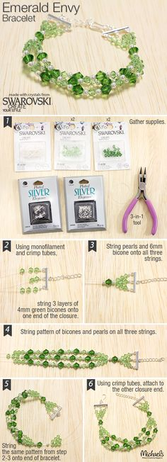 Your friends will be envious that you made this Emerald Swarovski bracelet following these directions