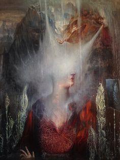 "Agostino Arrivabene ~ ""The Black Mirror"", 2015 Symbolic Art, Italian Artist, Black Mirror, Photo Projects, Renaissance Art, Fantastic Art, Community Art, Contemporary Paintings, Figurative Art"