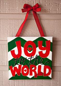 JOY to the WORLD, Painted Christmas Canvas Wrap on Etsy, $25.00