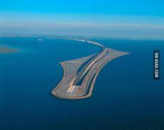 Underwater bridge linking Sweden and Denmark.