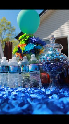 Boov Cake, Oh!, pig cat, Home the movie, DreamWorks, Purple and blue, First Birthday Water labels. Home party theme.  Candy table. Table decor