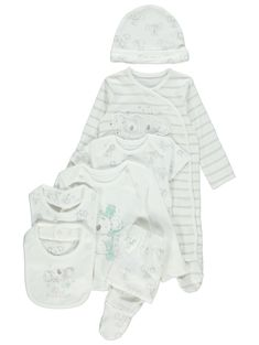 Give your newborn a stylish start with this 7 piece koala print starter pack. Made from pure cotton for a soft and comfortable finish, this set includes a to. Baby Clothes Online, Unisex Baby Clothes, Koala Nursery, Nursery Accessories, Baby George, Cots, Matalan, Prams, Asda