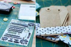 sew zig-zag fabric on tags