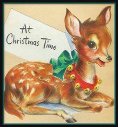 vintage deer Christmas card ♺ Kathy H Childrens Christmas, Old Fashioned Christmas, Christmas Deer, Christmas Animals, Retro Christmas, Christmas Greetings, Christmas Time, Christmas Postcards, Christmas Stuff