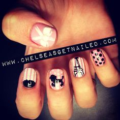 Megan Brooke: What Was Used:-OPI I Think in Pink-Lechat Nail Art stripers in white, black, and hologram glitter #Lockerz