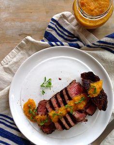 Steak with Roasted Pepper Sauce Recipe