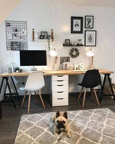 30 Awesome modern home office decor ideas happy work – Modern Home Office Design Home Office Space, Bedroom Office, Home Office Design, Home Office Decor, Bedroom Decor, House Design, Home Decor, Office Desk, Aesthetic Rooms