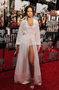 MTV Movie Awards 2014: Rihanna wears a lingerie-inspired look by Ulyana Sergeenko and Manolo Blahnik heels.