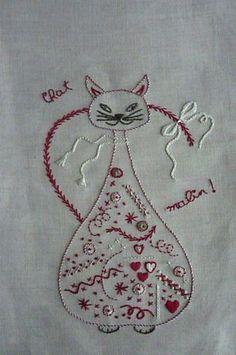 chat malin Plus Hand Embroidery Patterns, Embroidery Art, Embroidery Applique, Embroidery Stitches, Embroidery Designs, Shabby Chic Embroidery, Cat Quilt, Cat Pattern, Cross Stitching