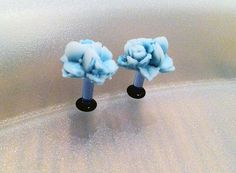 8G Teal Rose Flower Bouquet Plugs  Classy by PerfectionPetals, $16.00