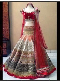 Latest Red and Off Whites Beautiful Designer Lahenga Choli
