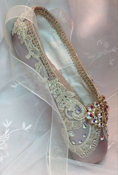 Raymonda themed decorated pointe shoe with by DesignsEnPointe