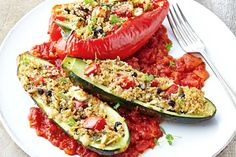 Couscous, herb & seed stuffed vegetables