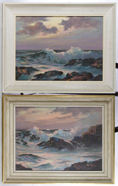 Lot 332: Hasselbar (American, 20th Century) Oil on Canvas; 1961; two works; signed lower right, depicting seascapes off the coast of Gloucester, Massachusetts; pencil mark en verso of one stretcher