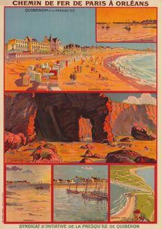 chemins de fer de paris à orléans - Quiberon et sa presqu'île - Bretagne - illustration de Philibert Vigoureux - France -