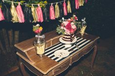 naked cake - cake table - Our engagement party - Krysten  Nathaniel // Engagement Party - Gavin James Photography