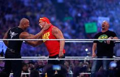 Rushmore: The Rock creates a dream moment for fans as he shares a ring with fellow WWE legends Hulk Hogan and 'Stone Cold' Steve Austin Wrestlemania 30, Iron Gym, The Rock Dwayne Johnson, Stone Cold Steve, Steve Austin, Hulk Hogan, Professional Wrestling, Wwe Superstars, In This Moment