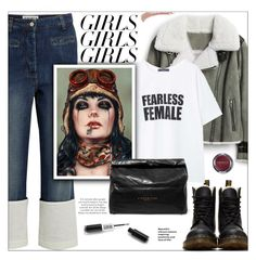 """""""Fearless Female"""" by imurzilkina ❤ liked on Polyvore featuring Dr. Martens, Loewe, Topshop, MANGO, Viveros, Simon Miller, Etiquette, womensHistoryMonth, pressforprogress and GirlPride"""