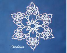 Floribunda tatting pattern PDF, tatted in white with beads makes a lovely snowflake