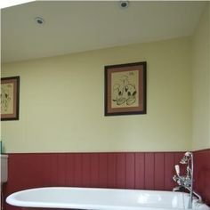 Bathroom Painted in Rectory Red  Farrow's Cream