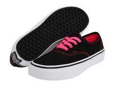 Black vans with pink laces